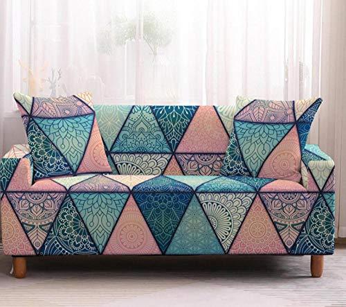 Funda Elástica de Sofá de 2 Plazas Patrón Rosa Azul Funda sofá (Regalar 2 Funda de Cojines) Funda para Sofá Funda de sofá de Sillón Antideslizante Protector Cubierta de Muebles