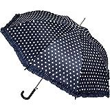 Automatik - großer - Regenschirm - Punkte - dunkel blau / Marine & weiß - mit Rüschen - Ø 104 cm - für Erwachsene & Kinder - Stockschirm - groß mit Griff - Au..
