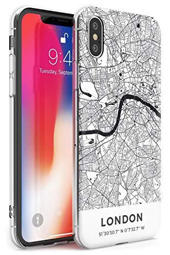 Hülle Warehouse Karte von London, Vereinigtes Königreich Slim Hülle kompatibel mit iPhone XS TPU Schutz Light Phone Tasche mit Reise England Fernweh Hauptstadt