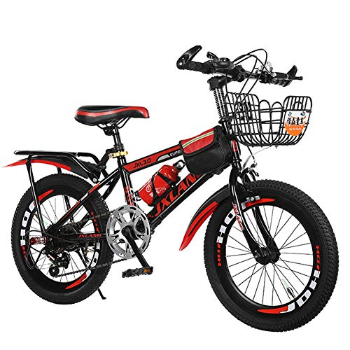 XIAOTING Children's Bicycles,18/20/22 Inch Boys and Girls Bikes,Variable Speed Mountain Kids Bike Sports Outdoor Cycling for 6-15 Years Old Kids,with Water Bott and Basket (Size : 22 inches)