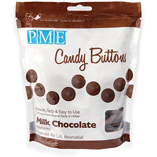 PME Candy Buttons - Milk Chocolate . 340 grams / 12 Oz. Like Wilton Melts. Perfect for Cake Pops and other Candy & Chocolate Making by The Baker Shop