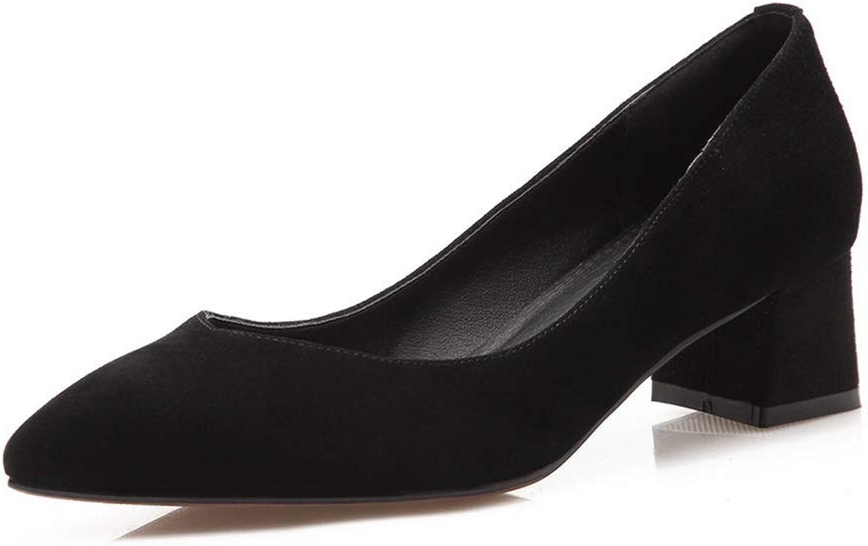 AN Womens Square Heels Pointed-Toe Sheepskin Pumps shoes DGU00814