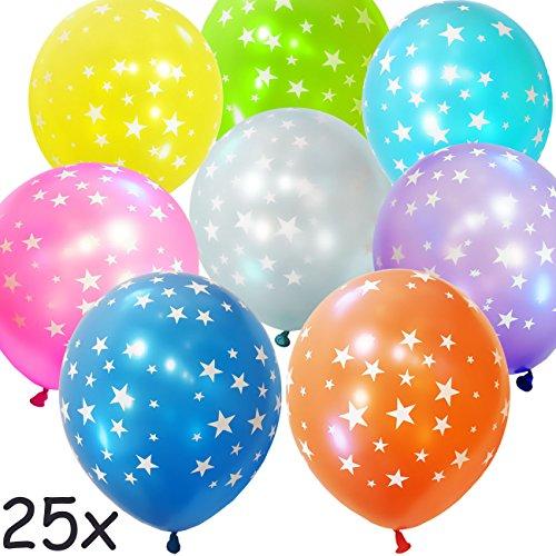 HomeTools.eu - 25 Stück - Bunte glänzende aufblasbare Luft-Ballons Stars | Edel glänzende Ballons - Stars - Für Hochzeit Polterabend Weihnachten Silvester | zur Deko für Party | 25er Pack 30cm