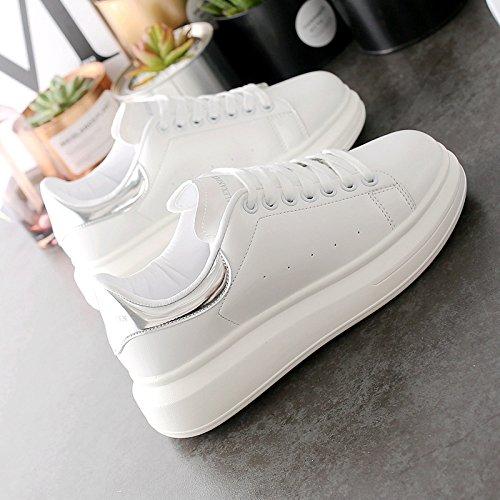Wuyulunbi@ La molla inferiore spesso scarpe Scarpe bianche scarpe piatte