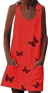 Women Fashion Printed Mini Dress ❀ Ladies O-neck Sleeveless Button Pocket Solid Casual Beach Dress