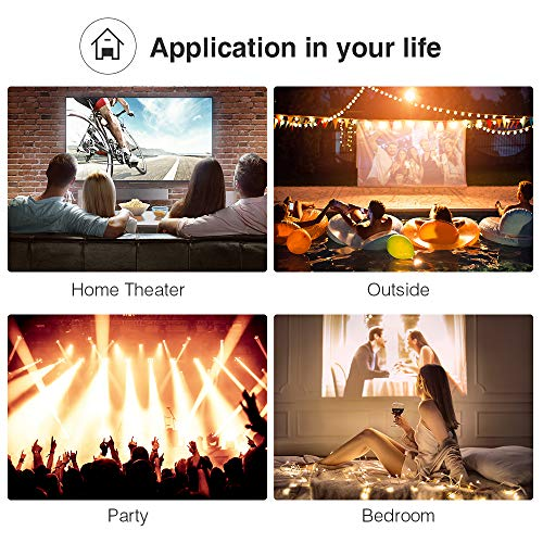 DBPOWER L12 Mini Projector, 176'' 3000L LED Movie Projector, Home Theater Video Projector with HDMI Cable, Support 1080P/USB/VGA/AV/TV/Laptop/Phone
