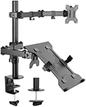 Brateck LDT12-C1M2KN Economical Double Joint Articulating Steel Monitor Arm with Laptop Holder Fit 13-32 Inch Monitors