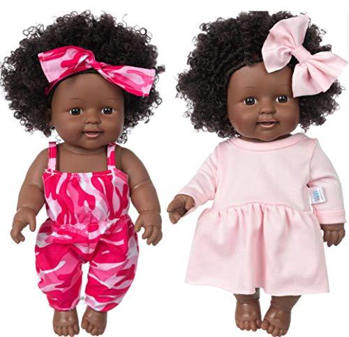 Poupées afro-américaines noires de 30,5 cm - Lavables - Réalistes - En silicone - Avec 2 vêtements de jeu (une seule poupée)
