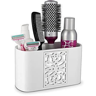 Mirror Janette Bathroom Counter Organizer- Vanity Organizers- Countertop Cosmetic Makeup Brushes Caddy Hair Accessories Storage- 3-Compartments Decorative Bath Organization (White)