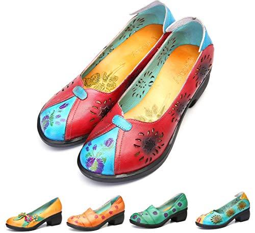 gracosy Mocasines Zapatos para Mujer de Cuero Calzado Tacón Medio de cuña de Punta Redonda Hechas a Mano Caminando al Aire Libre Casual Suela Suave Corte de Trabajo de Verano Patrón Retro Spilicing