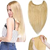 TESS Haarteile Echthaar Extensions günstig 1 Tresse Remy Haarverlängerung mit Draht Haarverdichtung Glatt 16'(40cm)-60g(#24 Mittelblond)