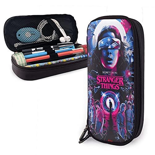 Estuche para lápices de piel de Stranger Things con cremallera, estuche de almacenamiento de papelería, regalo de cumpleaños