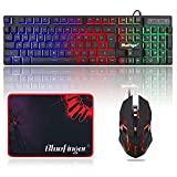 BlueFinger 87 Keys Gaming Keyboard and Mouse Combo, RGB Rainbow Backlit Keyboard with Lighted Gaming Mouse, USB Wired Compact Tenkeyless Keyboard Set for PC Laptop Computer Gamer Work