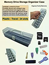 Tech Store On MDOB002 Memory Thumb Flash USB Drive and Accessories Organizer Storage Case Box, Plastic, Travel, 24 Slots with Antistatic Foam