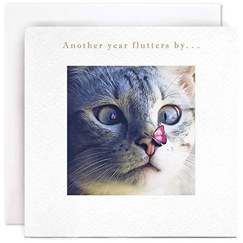 Susan O'Hanlon Geburtstagskarte – Katze und Schmetterling – Another Year Flutters by...