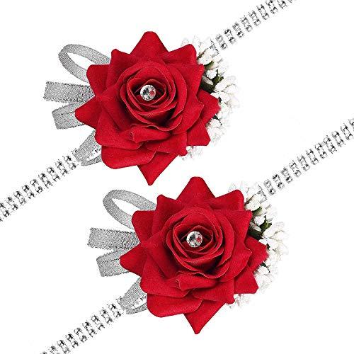 YQing 2Pack Rose Wrist Corsage Wristband, Velvet Open Rose Silvery Bling Ribbon Rhinestone Stretch Bracelet Wedding Prom Wrist Corsage Hand Flower, Red