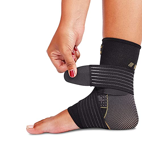 Ankle Brace for Women and Men - Adjustable Strap for Arch Support - Plantar Fasciitis Brace for Sprained Ankle Achilles Tendonitis Pain and Injured Foot - Breathable Copper Infused Nylon (Small)