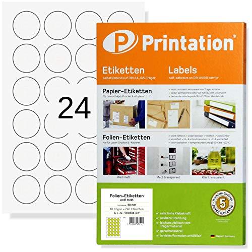Weiße Runde Folien-Etiketten 40 mm Durchmesser 240 Markierungspunkte matt weiß selbstklebend 40mm rund auf DIN A4 Bogen - 10 Folien-Blätter wetterfest