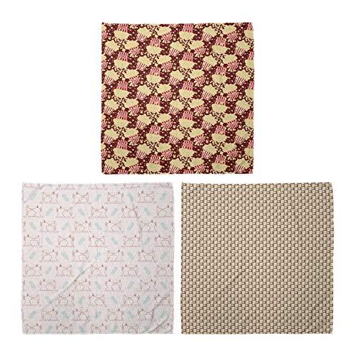 ABAKUHAUS Pack de 3 Bandanas Unisex, Película y palomitas patrón de la vendimia del estilo de las máquinas de coser retro, Multicolor