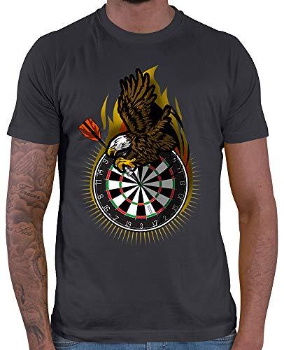 HARIZ Herren T-Shirt Adler Dartscheibe Dart Sprüche Dartscheibe Sport Fun Trikot Plus Geschenkkarte Dunkel Grau XL