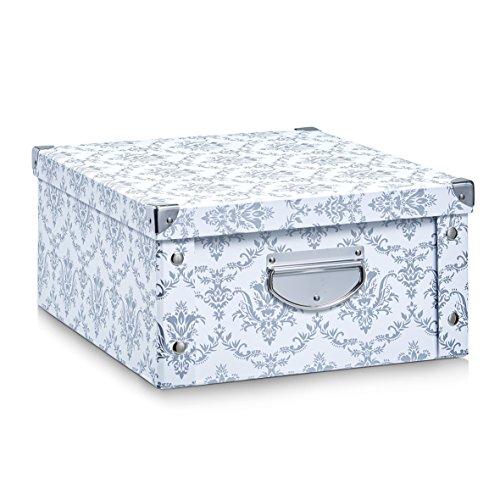 Zeller 17973 Aufbewahrungsbox Vintage, Pappe, weiß, ca. 40 x 33 x 17 cm