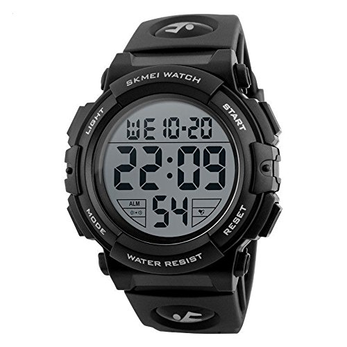 Men's Digital Sport Watch Waterproof Led Electronic Military Wrist Watch with Alarm Stopwatch Calendar Date Window (Black)