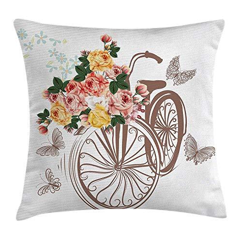 tyui7 Dekokissen Fall Polyester Kissenbezug 18x18 Zoll Fahrradkorb voller Frühlingsblumen und Blätter natürliche Themen romantische Bild,18x18 Zoll