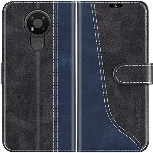 Mulbess Handyhülle für Nokia 3.4 Hülle, Nokia 3.4 Hülle Leder, Etui Flip Handytasche Schutzhülle für Nokia 3.4 Hülle, Schwarz