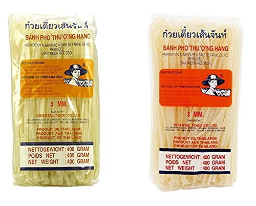 Farmer - Noodle Set fideos de Asia de 5 mm y 3 mm de ancho cada 400 g