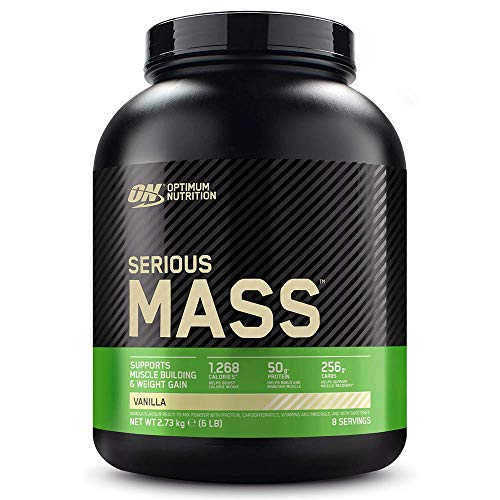 Optimum Nutrition ON Serious Mass Hochkalorisches Weight Gainer Protein Pulver mit Kohlenhydrate, Whey Protein, Vitaminen, Kreatin und Glutamin, Vanilla, 8 Portionen, 2,73kg