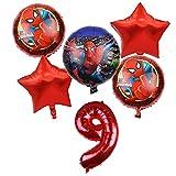 Wang Guozhang 6 unids Spiderman Foil Balloons Avengers 32 Pulgadas Número Globo Fiesta de cumpleaños Decoraciones Super Hero Boy Niños Juguetes Bebé Ducha Bola autosellantes (Color : Red Number-9)