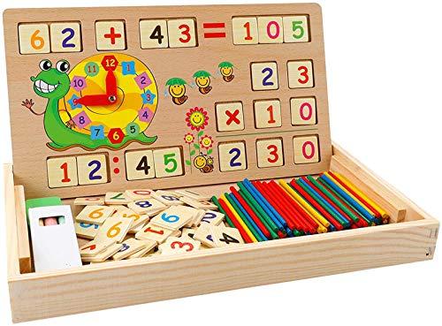 Babyhelen Montessori Mathe Spielzeug aus Holz Lernbox Zahlenlernspiel mit Zeichnung Holzbrett Lernspielzeug für Kinder 3 4 5...