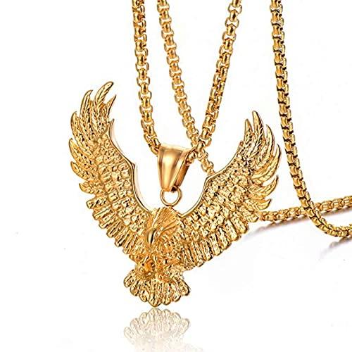JIAQINGRNM Collares Joyas de Acero Inoxidable Colgante de Águila Colgante Personalizado de Alas de Águila de Acero de Titanio Regalo de San Valentin Navidad