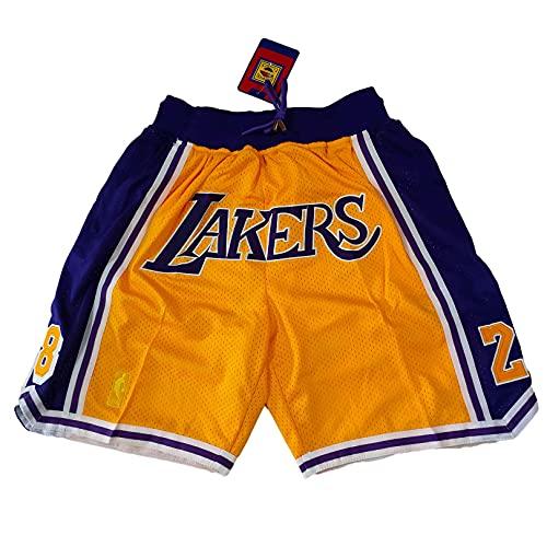VJSD Pantalones cortos de baloncesto para hombre, adecuados para Lakers amarillo 8-24 Jaston, bordado, transpirable y de secado rápido pantalones cortos deportivos XXL amarillo