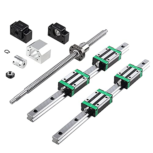 CNCCANEN Linear Guide Rail Kit 2Pcs HGR20-400mm Linear Slide Rail + 1Pcs SFU/RM1605-400mm Ballscrew with BF12/BK12 Linear Rail Bearing Blocks, Full Accessories of CNC for Automated Machines