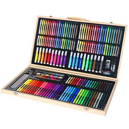 LCY Buntstifte Set Kinderzeichensatz Kinderkunst Stellte Kinder Pinsel 180 PCS Aquarell Holzbox