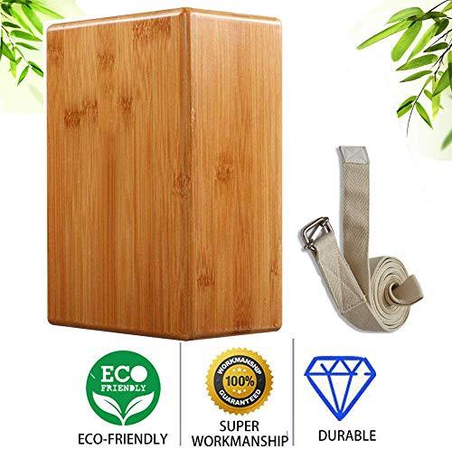 KAGNI Yoga-Block, hohe Dichte, natürlicher Bambus, Holz, Yoga-Block, Brick, für Yoga, Pilates, Fitnessstudio
