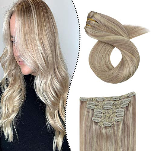 [Heiße Sommeraktion] Ugeat Highlight Clip Extensions Echthaar Remy Human Hair Aschblond Mixte Gebleichtes Blond #P18/613 16
