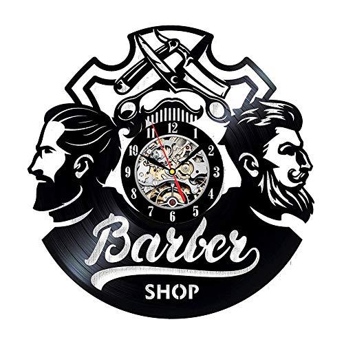 Salon de coiffure vinyle horloge cadeau pour coiffeur salon de beauté mur décor coiffeur mur art coupe de cheveux maison et salon art,Black,12inches