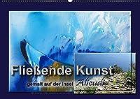 Fliessende Kunst - gemalt auf der Insel Alicudi (Wandkalender 2022 DIN A2 quer): Bilder gemalt im Flowtismus mit Fotos vom Entstehungsort, der Insel Alicudi (Monatskalender, 14 Seiten )