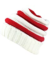 Sven Home Soft Slouchy Beanies Knit Warm Winter Unisex Cap Thick Women's Men Hat Christmas hat (White/Red)