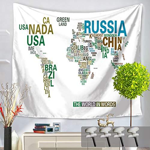 TEA-GROW オシャレ タペストリー 【200㎝×150㎝】 ヴィンテージ 風 世界地図 インテリア 布製 ワールドマップ ウォールデコ 仕切り 撮影 小道具 装飾アート (世界地図006)