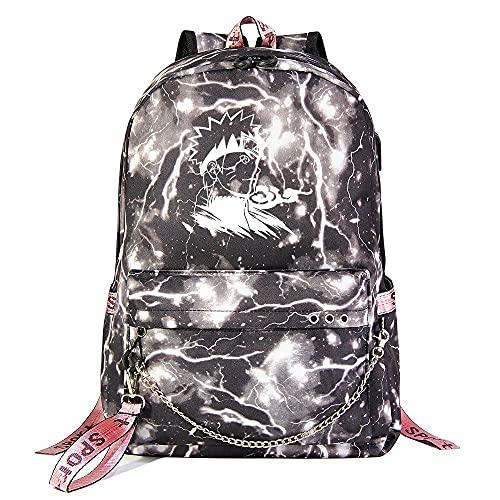 ZZGOO-LL Naruto/Sharingan/Kakashi with Chain USB Anime Laptop Backpack Bag Travel Mochilas Daypacks Bolso Ligero Light Grey-E
