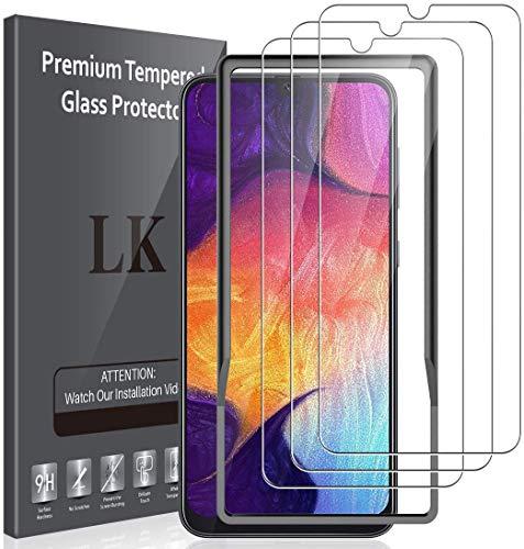 LK Compatible con Samsung Galaxy A50 Protector de Pantalla,3 Pack,9H Dureza Cristal Templado, Equipado con Marco de Posicionamiento,Vidrio Templado Screen Protector