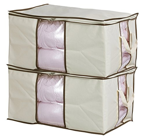 MISSLO Jumbo Zippered Storage Bags for Closet King Comforter, Clothes, Blanket Organizers Heavy Fabric Space Saver