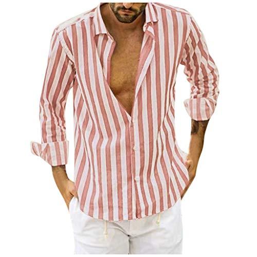 Lidiana Camisa para hombre de corte regular con botones y rayas, manga larga, para otoño e invierno, 21#rosa, L