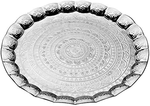 Luxury Ottoman Tray Round Silver Serving Tray Decorative Vanity Tray Platter for Serving Breakfast product image