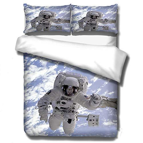 GUANYUA Ropa De Cama De Funda De Almohada, Edredón para Adultos para Los Amantes De Los Astronautas + 2 Pillowcasas, Espacio De Cama De Astronauta De Espacio 3D Space-200x200