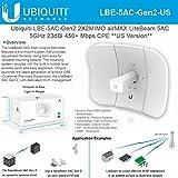 LiteBeam Antenna 802.11ac LBE-5AC-Gen2-US 2X2MIMO airMAX Gen2 5GHz 23dBi 450+ Mbps CPE