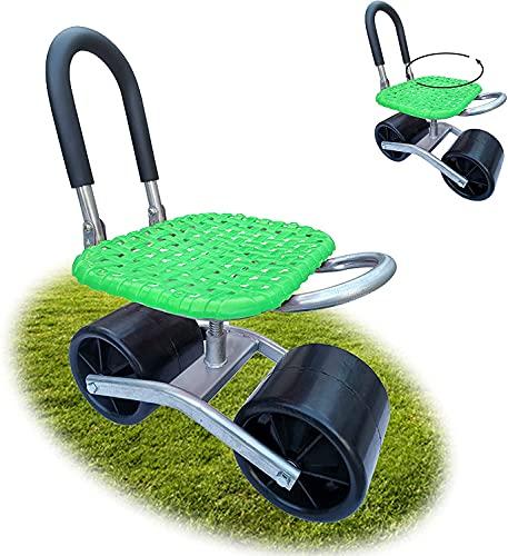 QDY -Outils de Jardin, siège Roulant pour Le Jardinage, siège de Jardin à Dossier Mobile pivotant à 360 °, Hauteur de Chaise de Jardin réglable pour Le désherbage/Jardin,2 Green